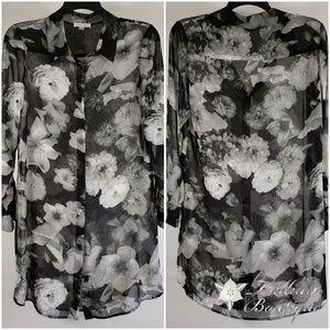 Calvin Klein Floral Sheer Shirt Dress - Medium